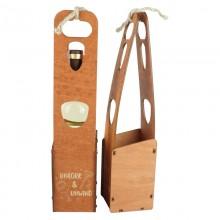 Футляр деревянный для винной бутылки 37,5см*8,5см*9см (цвет коричневый)