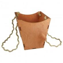Кашпо для цветов деревянное  (коричневый), размер 18,5см*18,5см*18,5см