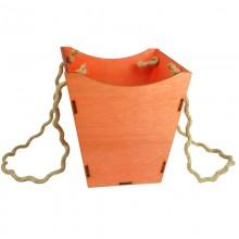Кашпо для цветов деревянное (красный), размер 18,5см*18,5см*18,5см