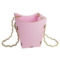 Кашпо для цветов деревянное (нежно-розовый), размер 18,5см*18,5см*18,5см