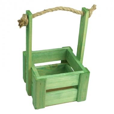Ящик для цветов малый 14см*14см (цвет зеленый)
