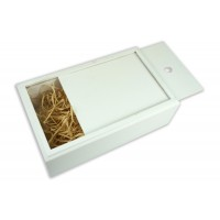 Бокс-пенал деревянный на 1 отделение, размер 32см*20см*h10,5 (цвет белый)