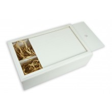 Бокс-пенал деревянный на 2 отделения, размер 32см*20см*h10,5 (цвет белый)